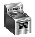Stainless steel stove a realistic illustration of a shiny new oven Royalty Free Stock Photo