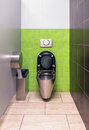 Stainless steel toilet green wall interior Royalty Free Stock Photography