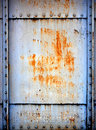 Stainless steel wall structure the walls of the old railway carriages world war it has rust Stock Photo