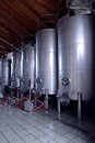 Stainless steel wine vats in a row Royalty Free Stock Photo
