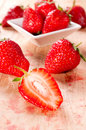 Stains from strawberries bunch of fresh organic strawberris Stock Photography