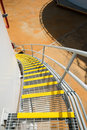 Stair grating of fuel oil storage tank Royalty Free Stock Photo