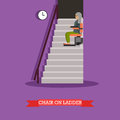 Stair lift for the elderly vector illustration in flat style