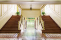 Stair stairs with a door to gaden Stock Photo