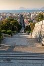 Staircase descending into a city patras greece Stock Image
