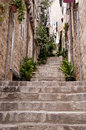 Staircase in dubrovnic stone steps the walled city of croatia Royalty Free Stock Image