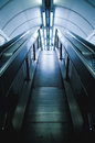 Staircase going down and escalator london underground Stock Photography