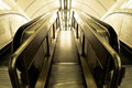 Staircase going down and escalator london underground Royalty Free Stock Photography
