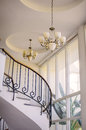Staircase in the interior, chandeliers Royalty Free Stock Photo