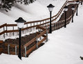 Staircase lantern and stone steps in the snowy mountains Royalty Free Stock Photos