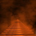 Staircase leading to heaven or hell light at the end of the tunnel Stock Photos