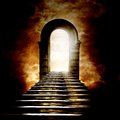 Staircase leading to heaven or hell light at the end of the tunnel Stock Photography