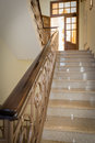 Staircase old styled marble with handrails in a hotel Royalty Free Stock Photo