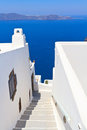 Staircase on santorini island white at greece Stock Photo