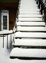 Staircase after snowstorm covered by snow in montreal canada photo taken with iphone Stock Images