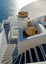 Staircase between the terraces of Santorini Stock Photography