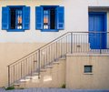 Staircase to blue door in Neve Tzedek Royalty Free Stock Photo