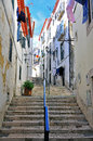 Stairs in alfama district lisbon Royalty Free Stock Photo