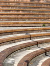 Stairs and bleachers concrete on a bank of the river black white shot Royalty Free Stock Photo