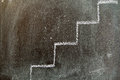 Stairs chalked on the blackboard Royalty Free Stock Photography