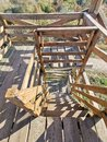 Stairs of high stand at edge of field Royalty Free Stock Photo