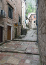 Stairs kotor in the old town of one of the most famous places on adriatic coast of montenegro Royalty Free Stock Photos