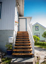 Stairs leading to a small summer home in Sweden Royalty Free Stock Photography