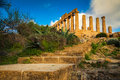 Stairs leading to the temple of juno ancient greek landmark in valle dei templi outside agrigento sicily Stock Images