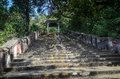 Stairs leading to the temple lord bhaktha vatsaleswarar india Royalty Free Stock Photo