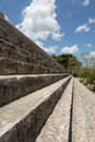 Stairs leading to the top og mayan pyramid closeup showing steepness of of a Stock Photography