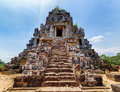 Stairs leading to top of temple mountain of ta keo angkor ancient amazing siem reap cambodia blue sky in background mysterious Royalty Free Stock Images