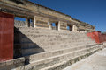 Stairs leading to zapotec temple in mitla ancient zapote oaxaca mexico Royalty Free Stock Photos
