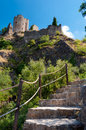 Stairs leating to quertinheux tower at lastours in france Stock Image