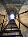 Stairs metal inside the stone fortress Royalty Free Stock Photo