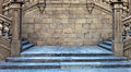 Stairs middle ages spain and stone wall Royalty Free Stock Photo