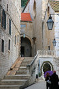 Stairs narrow street in old city of dubrovnik croatia the planks allow carts Royalty Free Stock Photo