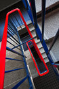 Stairs in red and blue Stock Photos