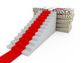 Stairs with red carpet and euro money five hundred euros heap isolated on white background Stock Photography