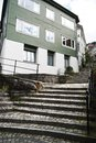 Stairs on street of Bergen city Royalty Free Stock Images