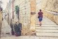 Stairs on the street of la Valletta