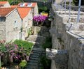 Stairs to defence wall, Ston, Croatia Royalty Free Stock Photo