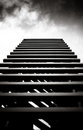 Stairs to the sky in dramatic black and white Stock Image
