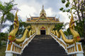 Stairs to the temple buddhist on road chonburi rayong thailand Royalty Free Stock Images
