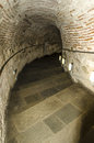 Stairs in tunnel the White Tower at Thessaloniki city, greece. Royalty Free Stock Photo