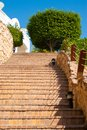 Stairs up with rope railing Royalty Free Stock Photo