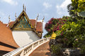 Stairs up to golden mount temple in bangkok thailand Royalty Free Stock Photo