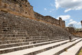Stairs at the uxmal ruins mexico leading to main plaza from nunnery Stock Images