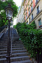 Stairs on the way to the basilica Sacre-Coeur. Paris. Royalty Free Stock Photo
