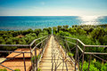Stairs way to the Mediterranean sea Royalty Free Stock Photo