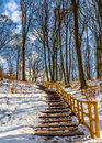 Stairs in winter in szczecin poland near the lake szmaragdowe Stock Photo